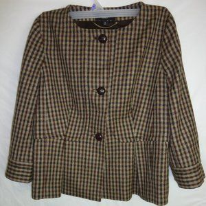 Talbots 100% Wool Lined Blazer Jacket Brown check
